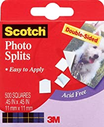 Scotch Photo Mounting Squares, 0.47 x 0.51 Inch Squares, 500/Box