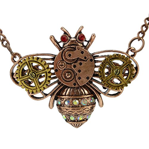 Chiou-Alloy-Insect-Bee-Beetle-Steampunk-Steam-Punk-Gear-Pendant-Bumble-Bee-Necklace