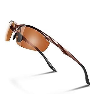 Glazata 偏光サングラス UV400 紫外線カット 超軽量 メタルフレーム スポーツサングラス