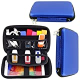 Lacdo Hard EVA Shockproof Carrying Case Bag for Seagate Backup Plus Slim / Western Western Digital WD My Passport Ultra / Toshiba / Battery Charger / 2.5 inch Portable External Hard Drive HDD -Blue