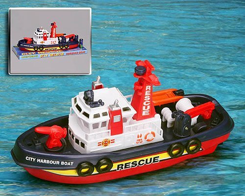 City Rescue Harbour Boat w/ Squirting Water Jet and Control Rudder + Fun Bath Tub Pool Toy Boats for kids