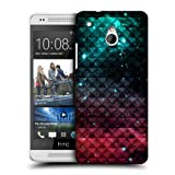 Head Case Printed Spark Red & Blue Studded Ombre Hard Back Case For Htc One Mini