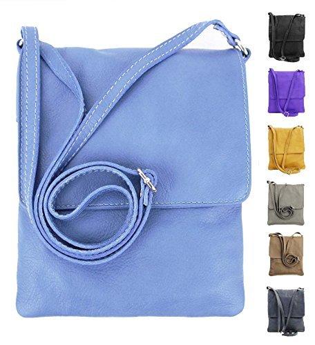 OBC italiano Piccola Borsa a tracolla Borsa di gioielli Mano Made in Italy CrossOver iPad Mini Tablet 7'' Borsa in Pelle borsa a tracolla Vera Pelle Ovye 18x22 cm (BxH) - celeste, Donna, 18x22 cm (BxH)