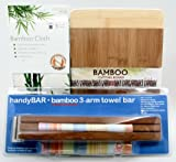 Three-piece Bundle of Bamboo Including a Bamboo Towel Rack, Bamboo Cutting Board, and a Set of Three Bamboo Towels