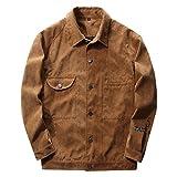 SemiAugust(セミオーガスト)メンズ 春秋ジャケット シンプルタイプ ポケット付き フェイクスエードブルゾン 防風 保温 男性用 カラーはカーキ サイズは2XL