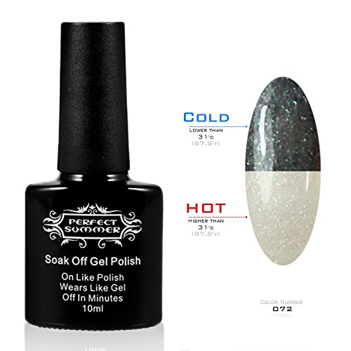 Perfect Summer New Best Mood Temperature Colors Changing Chameleon Gel Nails Polish Gloss Shiny UV Led Soak Off Salon Nails Lacquers #72 glitter black/gray (The Mood Polish compare prices)