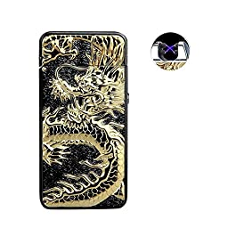 Danle USB Rechargeable Windproof Dual Electronic Arc Lighter Loong Chinese Dragon Double Arc lighter(Black)