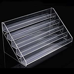 5 TIER CLEAR ACRYLIC NAIL POLISH ART VARNISH DISPLAY STAND HOLDER HOLDS APPROX 45 BOTTLES - CAN ALSO BE USED FOR 2 WAY FOR COSMETICS, MAKE UP, JEWELLERY