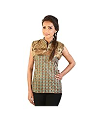 Jaipur RagaEthnic Girls Resham Zari Work Brown Cotton Top Cotton Top Kurti