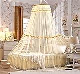 KAMIERFA Luxus Rund Kuppel Polyester Bett Baldachin Fliegennetz Mückennetz Beige
