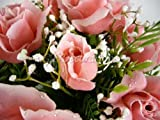 Artificial Silk Flower 18 head Dew Drop Rose Bush with Buds, Fern and Gypso (Pink) from GT Decorations