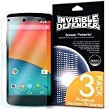 [NEW RELEASE] Invisible Defender - Google Nexus 5 Screen Protector with [3 PACK/Lifetime Replacement Warranty] The Worlds Best Selling Premium EXTREME CLEAR Screen Protector for Nexus 5 (AT&T, T-Mobile, Sprint, Verizon)