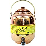SHIV SHAKTI ARTS Handmade Pure Copper Hammered Water Tank With Brass Handle Capacity = 6.5 Litre