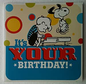 "LINUS LUCY SNOOPY CHARLIE BROWN Peanuts Musical Singing GIANT 11"" Square Birthday Card & Envelope"