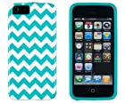 DandyCase 2in1 Hybrid High Impact Hard Aqua & White Chevron Pattern + Silicone Case Case Cover For Apple iPhone 5S & iPhone 5 (not 5C) + DandyCase Screen Cleaner