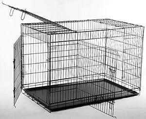 3 Door Suitcase Style Folding Metal Dog Crate with Metal Pan 36Lx24Wx26H