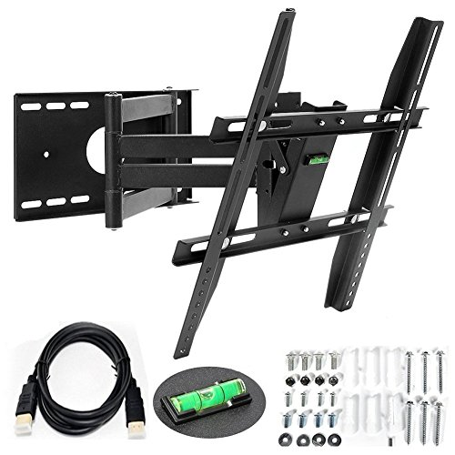 TV Wall Mount, Tecinx Double-arm Articulating Swivel TV Wall Mount Full Motion for 14″-40″ Tilt LED Plasma Flat Screens VESA 400×400 mm Load Capacity 55lbs -Includes 6Ft HDMI Cable