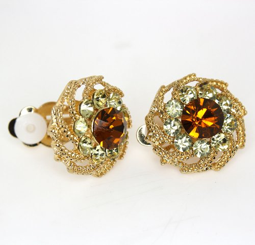 Vintage Topaz and Champagne Color Austrian Crystal Flower Clip-on Earrings