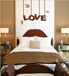 Vinyl Wall Art Decal Sticker Love Hanging Sign Birds Bedroom Decoration
