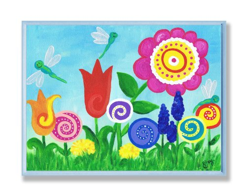 The Kids Room by Stupell Bright Flowers and Dragonflies Rectangle Wall Plaque