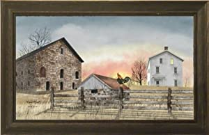 Early Riser by Billy Jacobs Brick Barn Farmhouse Rooster Dawn Country Landscape Primitive Folk Art Print 15x23 Wall Décor Framed Picture