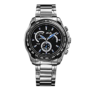 WEIDE Sport Outdoor Mens Watch Water Resistance Stainless Steel Analog Quartz Wristwatch-