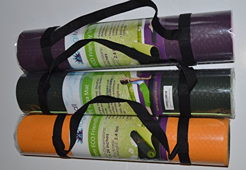 Eco Friendly Two Layer TPE Premium Yoga Mat with Carry Strap by YogiMall, Free of PVC and Other Toxic Chemicals, Non-Slip, Extra Long 72″,Thick 6mm, Light Weight 2.4 Lbs, Perfect for Yogis On-The-Go!