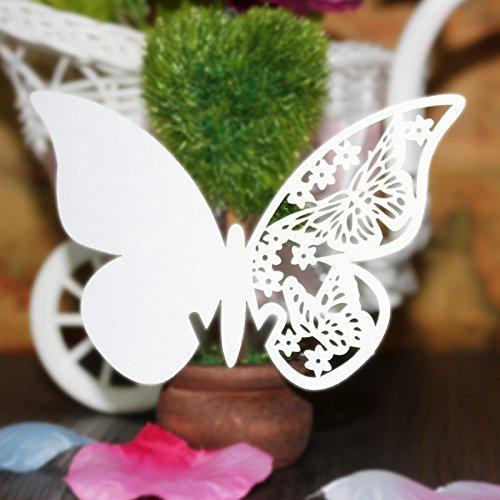 QUMAO - 100 pz Segnaposti / Segnabicchiere / Segnatavolo, Bianco Perlato, forma di Farfalle, Decorazioni per Feste / Matrimonio (105x70mm)