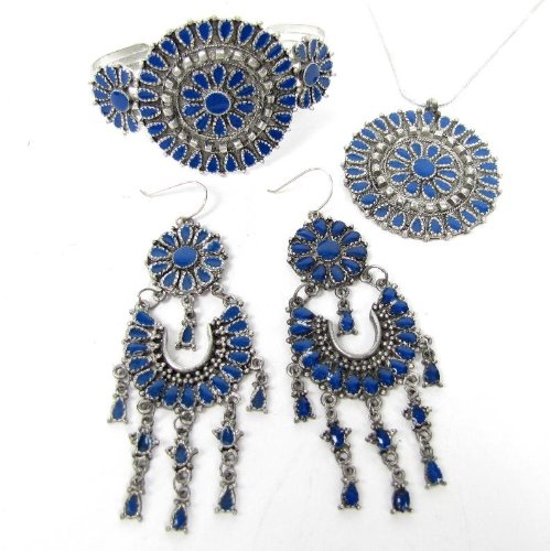 Zad 3 Piece Set Southwestern Necklace Pendant Chandelier Earrings & Cuff Bracelet (Blue enamel)