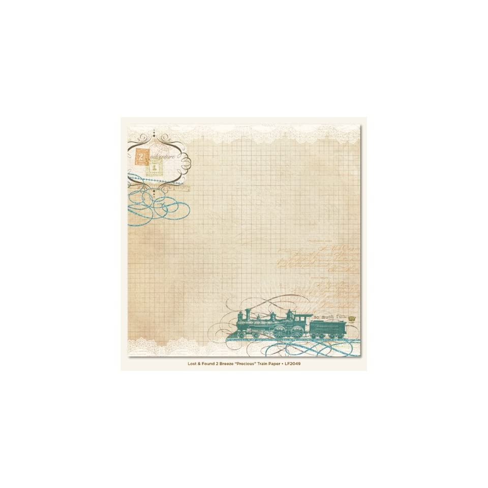 Lost/Found 2 Breeze Precious Double Sided Paper 12X12 Train