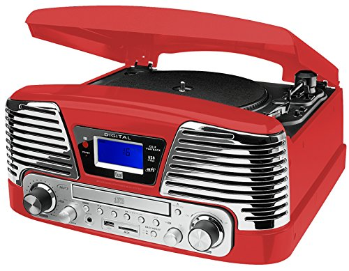 Dual NR 6 Nostalgie-Komplettsystem (UKW-Radio, Plattenspieler, Direct-Encoding, CD/MP3-Player, USB, SD-Card, Fernbedienung) rot
