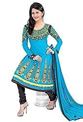 Vatsal Silk Mills Womens Cotton Anarkali Dress Material (Zara-1006 _Blue _Free Size)