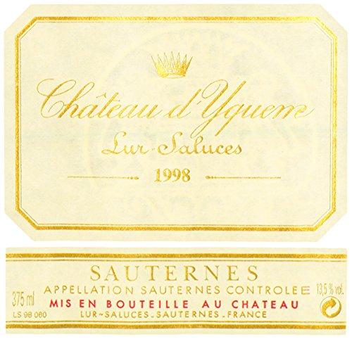 1998 Chateau Yquem Sauternes Bordeaux 375 Ml
