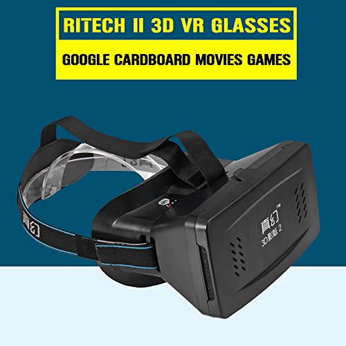 Ritech Universal Virtual Reality 3D Glasses 2 With Elastic Band For 3.5 ~ 6 Inch Smartphone