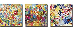 Wishes and Wildflowers, Garden Twinkle, & Along the Way by Joan Elan Davis 3-pc Premium Gallery Wrapped Canvas Giclee Art Set (Ready to Hang)