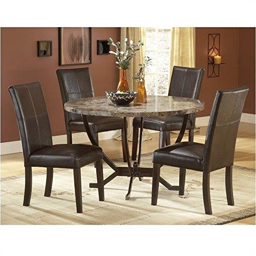 Hillsdale Monaco Round Faux Marble 5-Piece Dining Set,-Chairs, Matte Espresso, Set Includes 1-Table and 4-Chairs (Round Dining Table Set For 4 compare prices)
