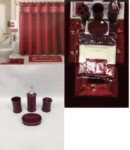 22 Piece Bath Accessory Set Burgundy Red Bath Rug Set + Shower Curtain & Accessories