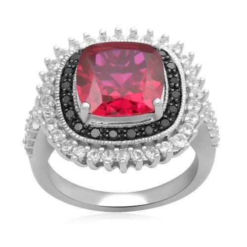 Sterling Silver Created Ruby with Created White Sapphire and black Diamond Ring, Size 7