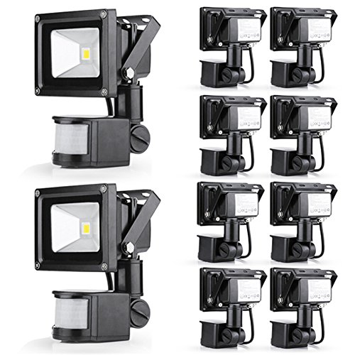 Gemeric 10W Warm White 110V Led Floodlight Pir Motion Sensor Security Outdoor Spot Lamp Ip65 Pack Of 10