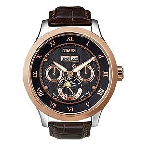 unisex Timex T2N290@Mns Twotone Brwn Strap Date,, Arabic numerals