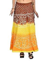 Aura Life Style Women's Cotton Bandhej Skirt (ALSK3030B, Multi , Free Size)