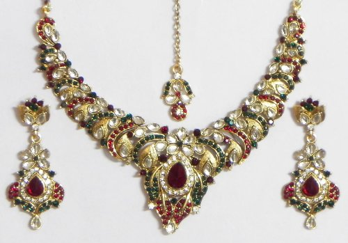 Faux Garnet, Emarald And White Zirconia Studded Kundan Necklace Set With Mang Tika - Stone And Metal