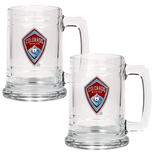 Sports MLS COLORADO RAPIDS 2pc 15oz Glass Tankard Set - Primary Team Logo/Clear Glass