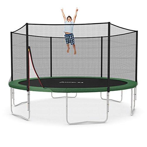Trampolin Ø 430 cm grün | Gartentrampolin Komplettset mit verstärktem Netz | belastbar bis 160 kg