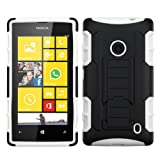 MyBat ASMYNA Car Armor Stand Protector Cover Rubberized for Nokia 520 Lumia - Retail Packaging - Black/White