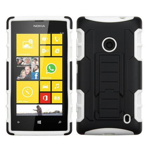 Mybat Asmyna Car Armor Stand Protector Cover Rubberized For Nokia 520 Lumia - Retail Packaging - Black/White front-611434