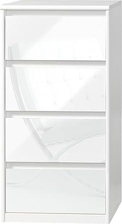 CS Schmalmöbel 75.185.012/21 Grifflose Kommode Soft Plus Smart Typ 21, 45 x 55 x 110 cm, weiß/weiß hochglanz