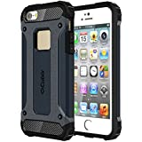 Cubix Impact Hybrid Armor Defender Case For Apple IPhone SE (Navy Blue)