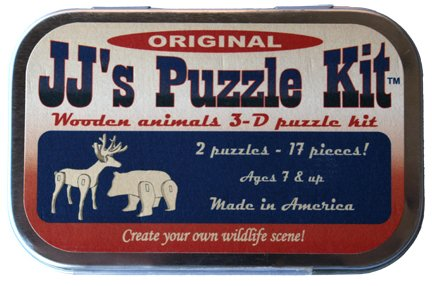 JJs Puzzle Kit, Original, Two 3-d Wooden Animals