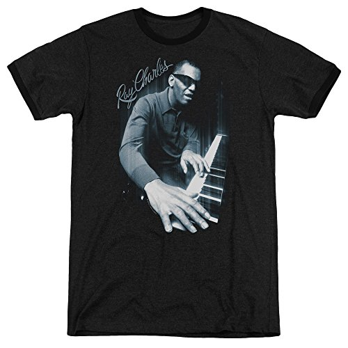 Ray Charles - Blues Piano Adult Ringer T-Shirt 2XL